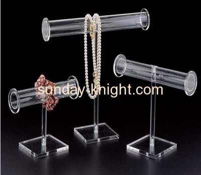 Acrylic bracelet and necklace display stand with round bar JDK-012