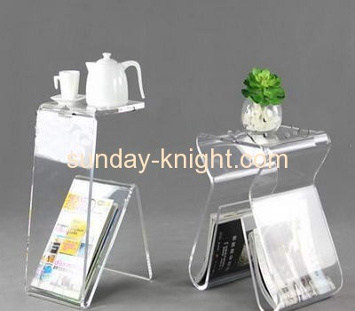 Clear lucite side coffee table with magazine holder AFK-025