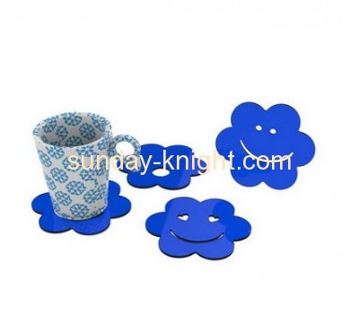 Factory direct sell smile shape blue acrylic cup coaster HCK-028