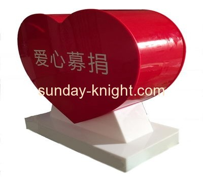 Wholesale high quality heart shape red acrylic voting box with lock DBK-031