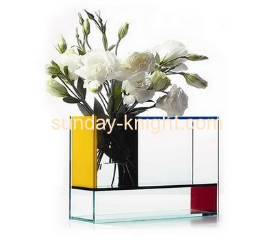 Hot sale fashion design top quality rectangle acrylic clear plastic vase AHK-029