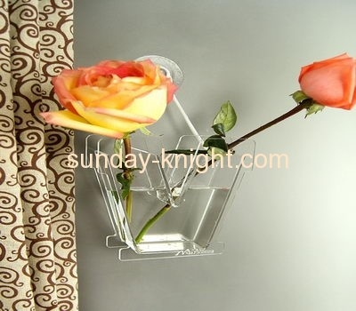 Wall mounted acrylic clear plastic crystal vase AHK-034