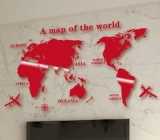 Hot selling acrylic world map wall sticker custom wall sticker round wall mirror MAK-084