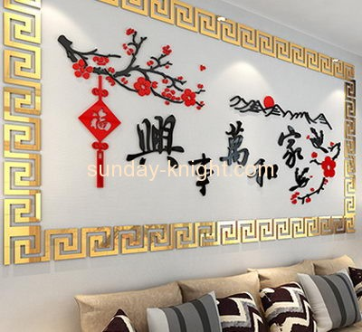 Custom design acrylic color sticker gold mirror glass acrylic mirror sticker MAK-056