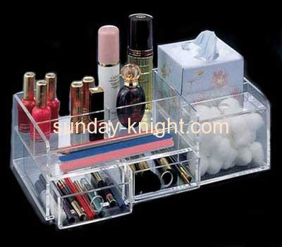 Acrylic makeup display box with 4 dividers and 2 drawers MDK-010
