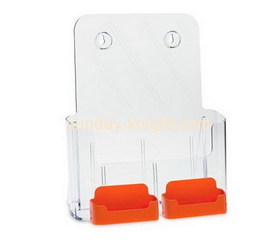 Acrylic display factory custom lucite fabrication brochure holder with business card holder BHK-200