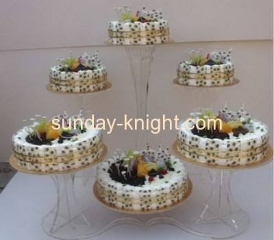 Acrylic cake display stand with 6 different size holders FSK-009
