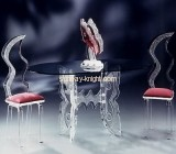 Transparent plexiglass ghost chairs and modern side table AFK-014