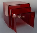 Red acrylic side table with three sizes AFK-020