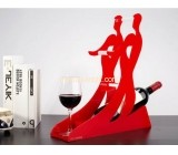 Red acrylic display holders for wine bottle and cup WDK-017