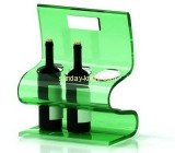 Green acrylic wine bottle stand with 3 holders and handle taking WDK-020