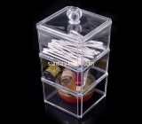 Clear acrylic makeup display box with three layers and lid MDK-025
