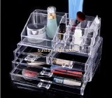 Clear acrylic storage box with four drawers and top side holders MDK-028