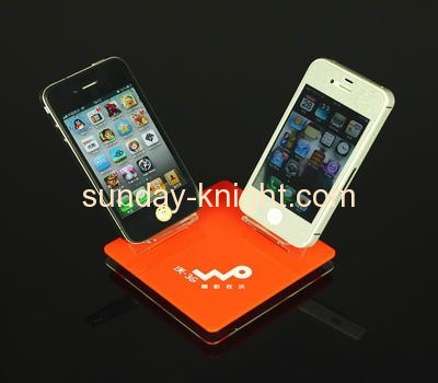 Red acrylic cell phone display stands with two holders CPK-014
