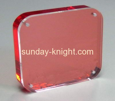 Round corner red acrylic photo frame APK-014