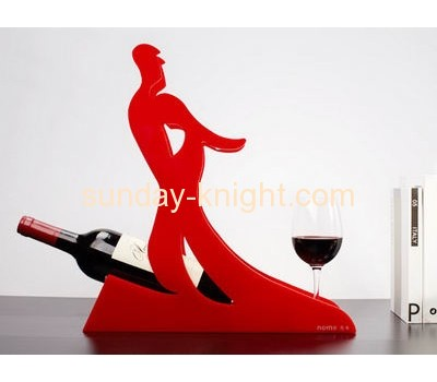 Red acrylic wine bottle and cup display holder WDK-018