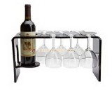 Black lucite display stand with six cups and one wine bottle WDK-024