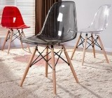 Clear lucite modern ghost chairs with wooden feet AFK-030