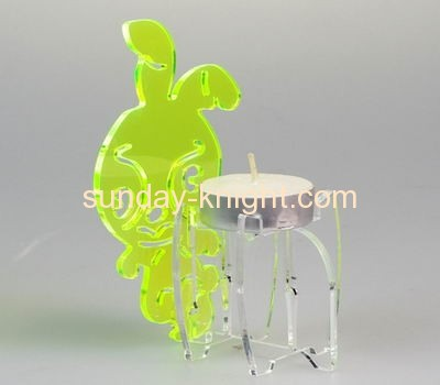 Clear acrylic tealight holder with rabbit decoration HCK-020