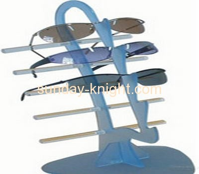 Blue lucite sunglasses display rack with five holders SDK-022