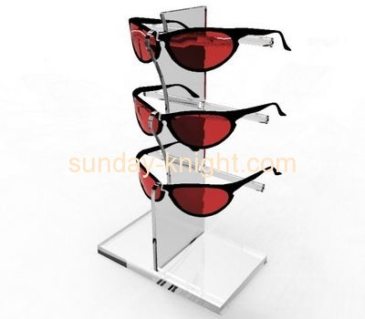 Clear lucite sunglasses display stand with three holders SDK-024