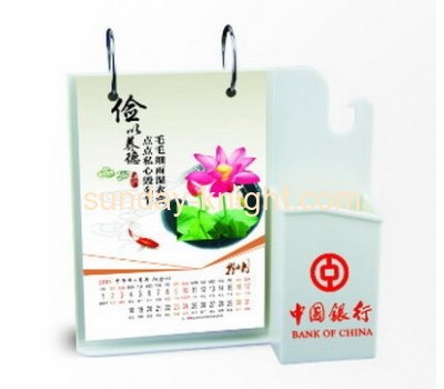 Acrylic plastic desk calendar stand pen holder BHK-031