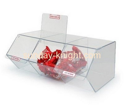 Custom retail display acrylic candy storage box with dividers FSK-041