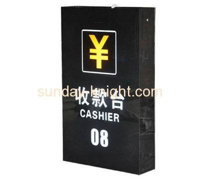 Custom design black acrylic crystal led light box acrylic light box  acrylic cashier sign DBK-055