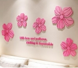 Customized acrylic flower wall sticker big mirror bathroom mirror wall stickers MAK-073