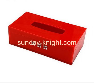 Customized acrylic square plastic box facial tissue box plastic organizer box DBK-076