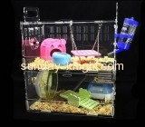 Plexiglass manufacturer custom acrylic double bird cage cheap large hamster cages PCK-071