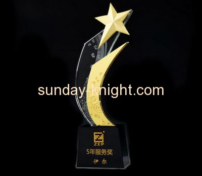 Custom design top quality clear acrylic crystal trophy award plaques medal ATK-030