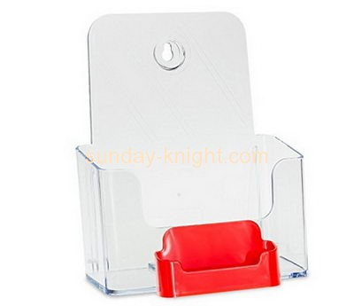 Perspex manufacturers custom design plastics brochure holder with business card pocket BHK-215