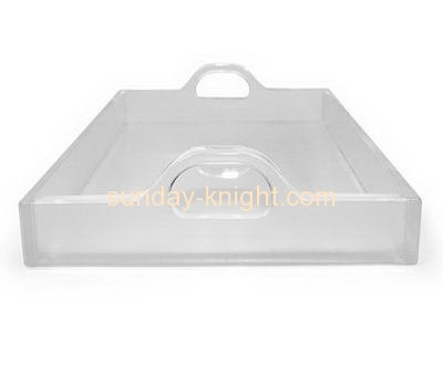Acrylic products manufacturer custom perspex serving trays with handles HCK-098