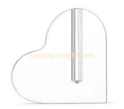 Acrylic company custom clear acrylic heart shaped vase HCK-107