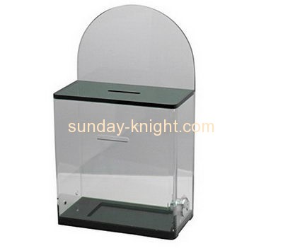 Custom and wholesale acrylic charity coin collection boxes DBK-139