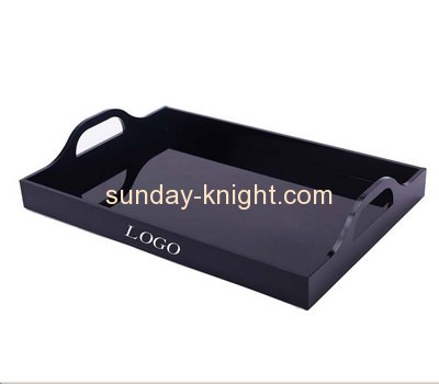 Bespoke black acrylic serving platter with handles STK-094