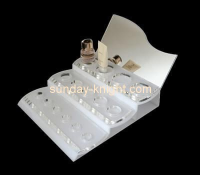 Customize tiered white acrylic cosmetic display stand MDK-170