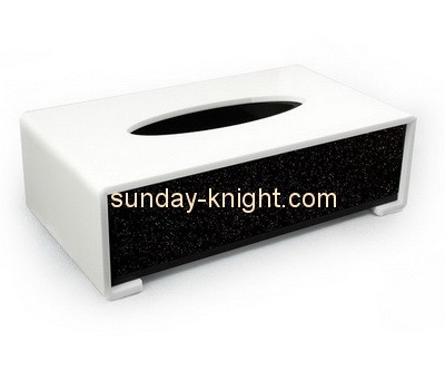 Customize acrylic black and white tissue box cover DBK-868