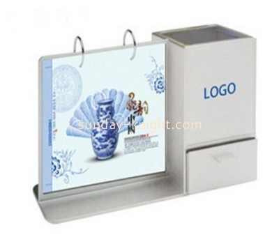 Acrylic desk stand up calendar stand with pen holder BHK-029