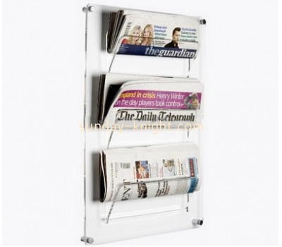 Custom design acrylic brochure holder wall mounted book holder magazine holder BHK-050