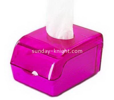Pink acrylic small tissue box DBK-1040