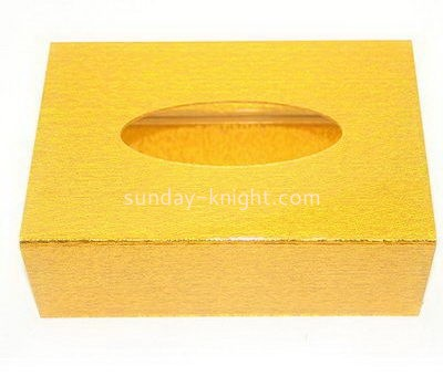 Custom gold acrylic tissue box DBK-1047