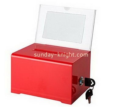 Customize red acrylic charity box with sign holder DBK-1098