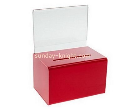 Customize red acrylic donation box with sign holder DBK-1100