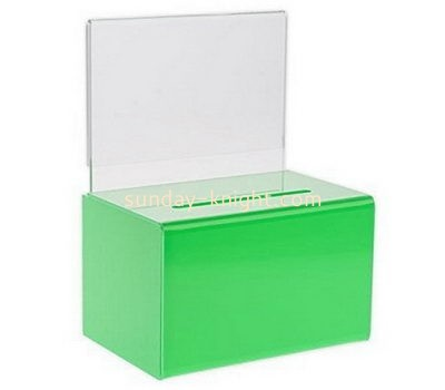 Customize green acrylic ballot box with sign holder DBK-1099