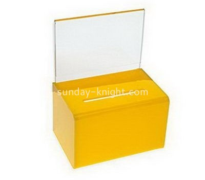Customize yellow acrylic suggestion box DBK-1104