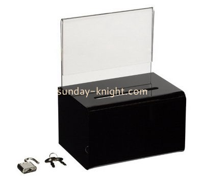 Customize black acrylic charity box DBK-1107