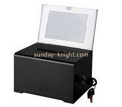 Customize small acrylic charity box with sign holder DBK-1109