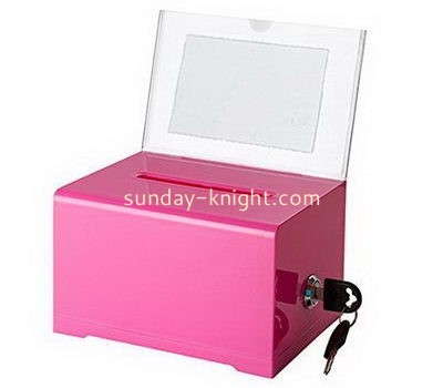 Customize pink acrylic charity box with sign holder DBK-1111